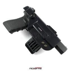 NICOARMS Rail-Down 2001, taktické pouzdro na pistoli stehenní, armádní černá