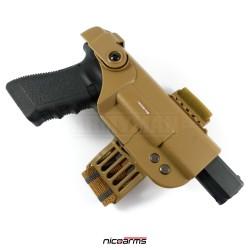 NICOARMS Rail-Down 2002, taktické pouzdro na pistoli stehenní, armádní pouštní