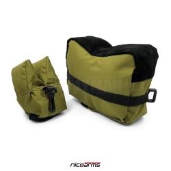NICOARMS Rest Bag Green, střelecký vak, armádní zelená + černá