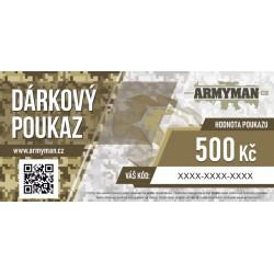 Dárkový poukaz Armyman.cz na nákup zboží v hodnotě 500 Kč